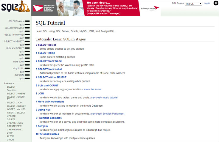 sqlzoo 1 sql tutorial main page